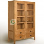 Glass Cabinet Whit 4 Drw